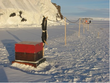 Figure 1. Sea Level Monitoring Station Created in the Shore Ice of the Davis Sea, Antarctica