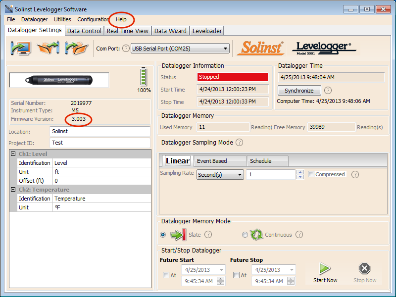 levelogger software datalogger settings