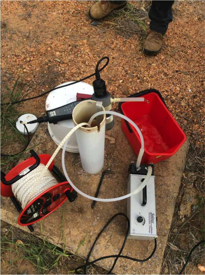 Groundwater Sampling Setup Using Solinst Peristaltic Pump and Interface Meter