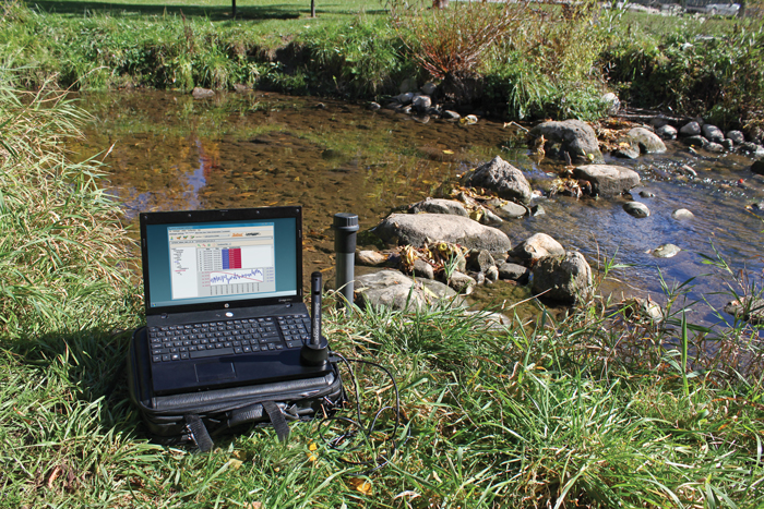 solinst ltc levelogger edge for stormwater monitoring in stream bed