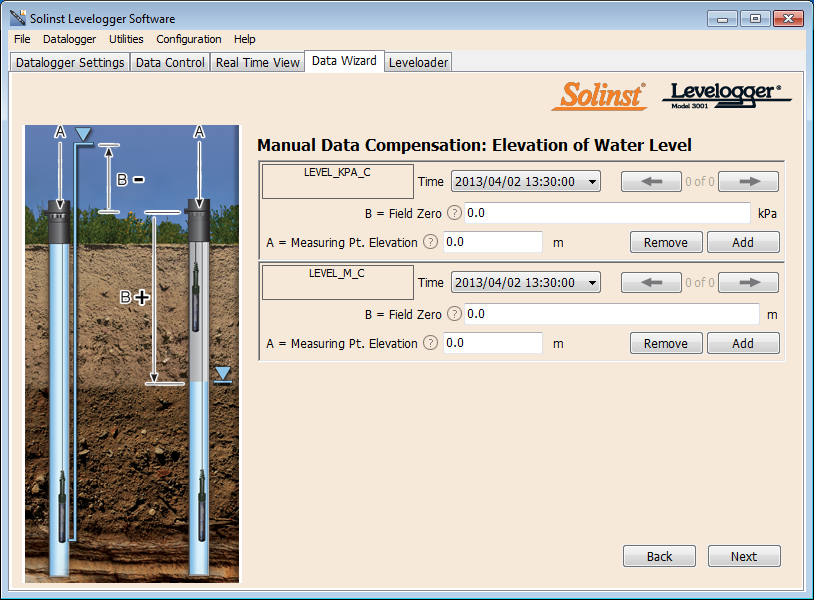 manual data adjustment in levelogger software