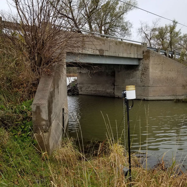 water quality monitoring site installed in a river with levelsender telemetry station
