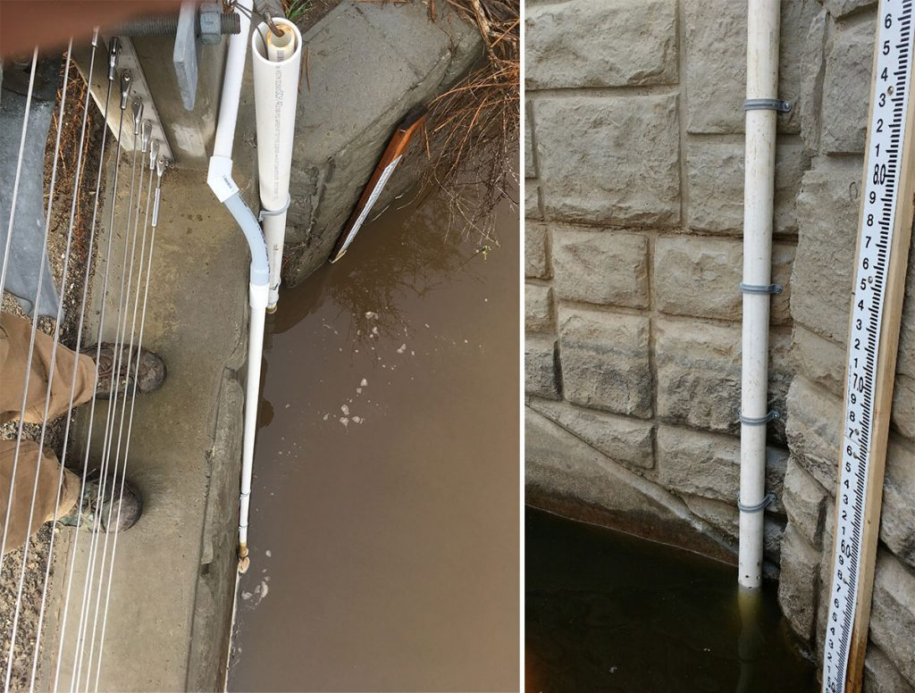solinst leveloggers installed to measure water elevation in stormwater outflows