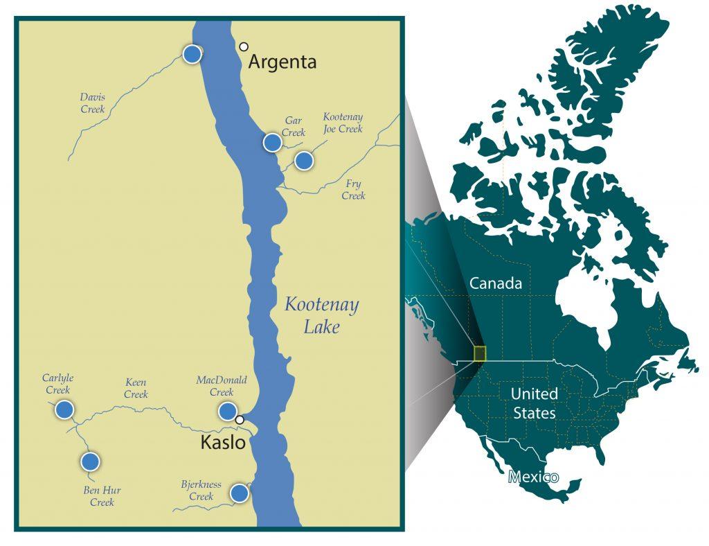 map of levelogger monitoring locations in kootenay british columbia