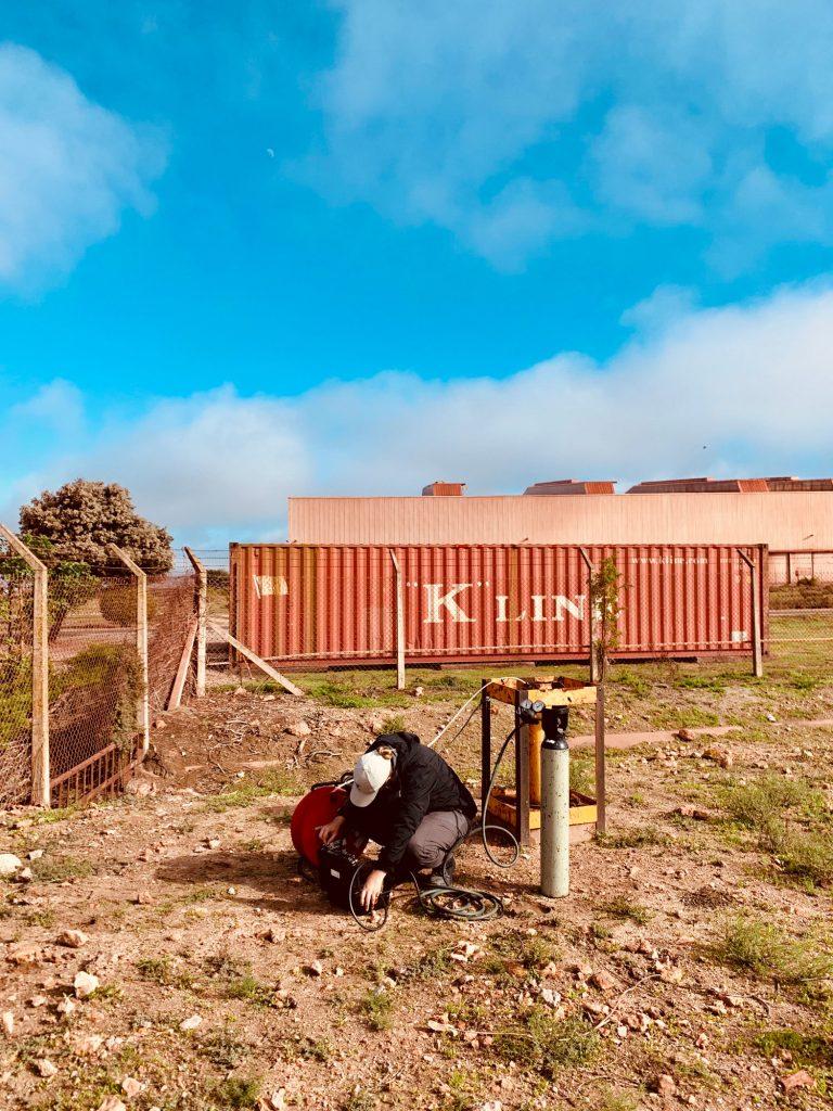 portable solinst bladder pump groundwater sampling setup