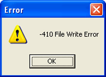figure 7-5 file write error message