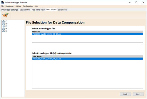Figure 8-6 Selecting Files for Compensation