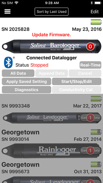 datalogger with outdated firmware message ios