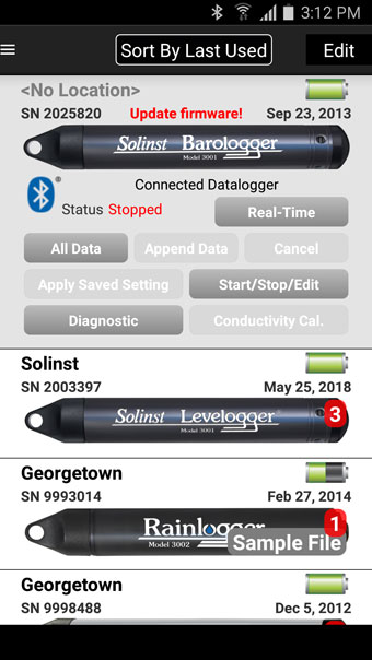 datalogger with outdated firmware message android