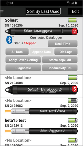 dataloggers screen with connected datalogger android