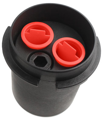 solinst levelogger water level datalogger locking well cap with dust plugs showing top view
