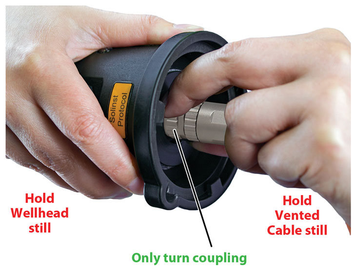 hand tighten the aquavent cable coupling