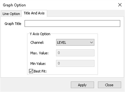 solinst aquavent title and axis options window