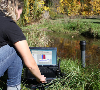 solinst telemetry systems water level monitoring near a stream