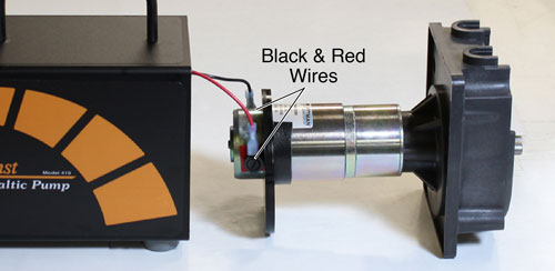 disconnect the black and red wires from the solinst peristalitic pump motor assembly